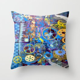 SURREAL BLUE STEAMPUNK ELECTRONIC PIANO ART Throw Pillow