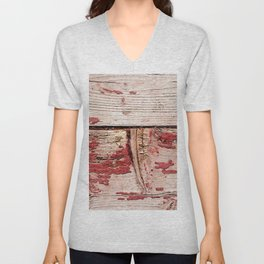 Two Grunge Wooden Planks Painted Red Unisex V-Neck