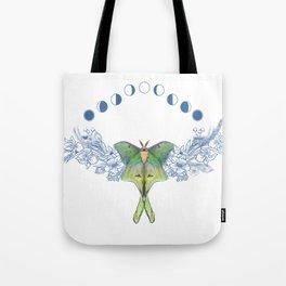 Luna moth moon phase Tote Bag