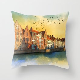 Landscape with beautiful medieval houses and canals. Bruges, Belgium. Throw Pillow