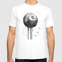 8-Ball Watercolor Black Pool Billiards Eight Ball Art White Mens Fitted Tee MEDIUM