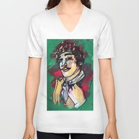 gentleman V-neck T-shirts featuring Gentleman  by Tamara Jane Lenz