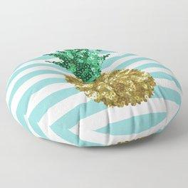 Sparkly Pineapple Light Blue Floor Pillow