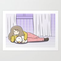 puppycat Art Prints featuring My Puppycat by Annemator