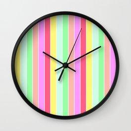 Pastel Rainbow Sorbet Deck Chair Stripes Wall Clock