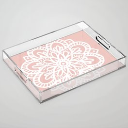 Beautiful Mandala Flower Rose Gold Acrylic Tray
