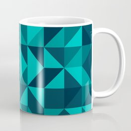 The bottom of the ocean - Random triangle pattern in shades of blue and turquoise  Coffee Mug