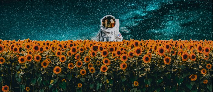 Astronaut in sunflower field Coffee Mug
