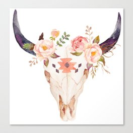Bull Head Skull Boho Flowers Canvas Print
