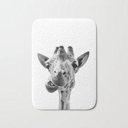 Giraffe Portrait Black and White Bath Mat