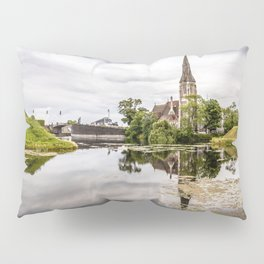 Church in Copenhagen reflections on lake at sunset Pillow Sham