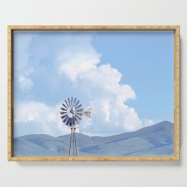 """Blue Windmill Blue Sky"" by Murray Bolesta Serving Tray"