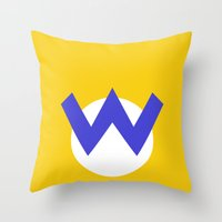nintendo Throw Pillows featuring Nintendo Wario by JAGraphic