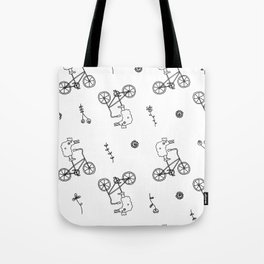 chicken on a bike pattern Tote Bag