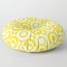Mid Century Square and Circle Pattern 541 Yellow Floor Pillow