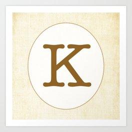 Vintage Letter Series - K Art Print