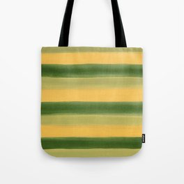 Green and Yellow Gouache Stripes Painted Pattern Tote Bag