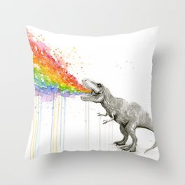 T-Rex Dinosaur Rainbow Puke Taste the Rainbow Watercolor Throw Pillow