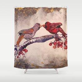 Kissing Cardinals Shower Curtain
