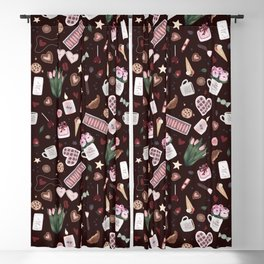 Burgundy Valentine Pattern Blackout Curtain