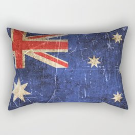 Vintage Aged and Scratched Australian Flag Rectangular Pillow