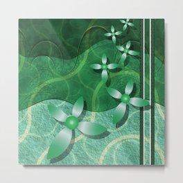 Emerald Fractal Scrapbooking Floral Metal Print