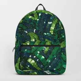 Green Paisley Sequin Pattern Backpack