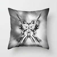 angels Throw Pillows featuring Angels by haroulita