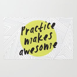 Practice Makes Awesome Geometric Typography design Rug