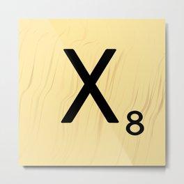 Scrabble X Initial - Large Scrabble Tile Letter Metal Print