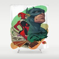 aquaman Shower Curtains featuring Deadly Hand - Bat man, Harley Quinn and Joker (TS color) by Brian Hollins art