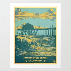 Vintage Huntington Beach Poster Art Print
