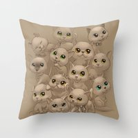 kittens Throw Pillows featuring Kittens by Antracit
