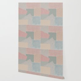 Pastel colored checkered background with paper texture Wallpaper