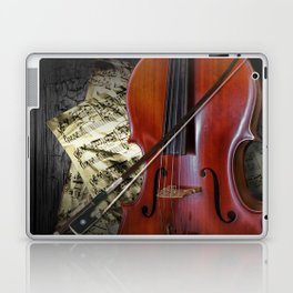 Cello with Bow a Stringed Instrument with Classical Sheet Music Laptop & iPad Skin