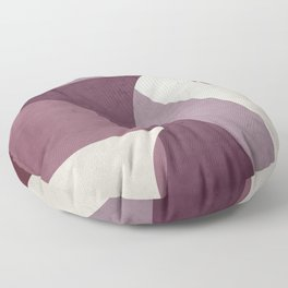 Contemporary Textured Abstract Shapes in Mulberry, Musk Mauve and Ivory  Floor Pillow