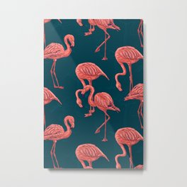Living coral flamingo pattern  Metal Print