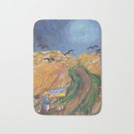 Penguin Van Gogh painting crows in golden field Bath Mat