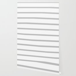 Horizontal Light Grey Stripes Pattern Wallpaper