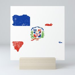 Distressed Dominican Republic Map Mini Art Print