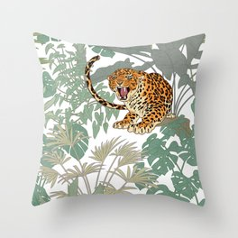 Leopards in the jungle pattern. Throw Pillow