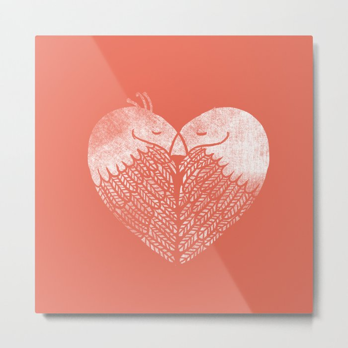 Love birds sitting on a tree Metal Print