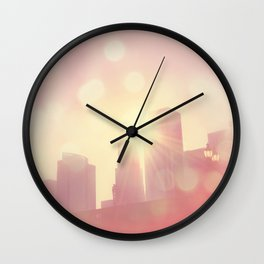 downtown Los Angeles skyline photograph. City of Lights Wall Clock