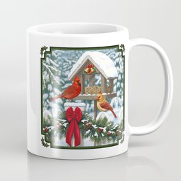 Red Cardinals and Christmas Bird Feeder Coffee Mug