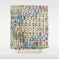 knit Shower Curtains featuring Knit Pattern  by Manuela Mishkova