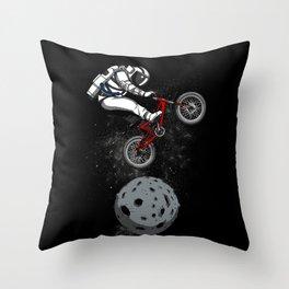 Biker Astronaut Riding Bike Outer Space Throw Pillow
