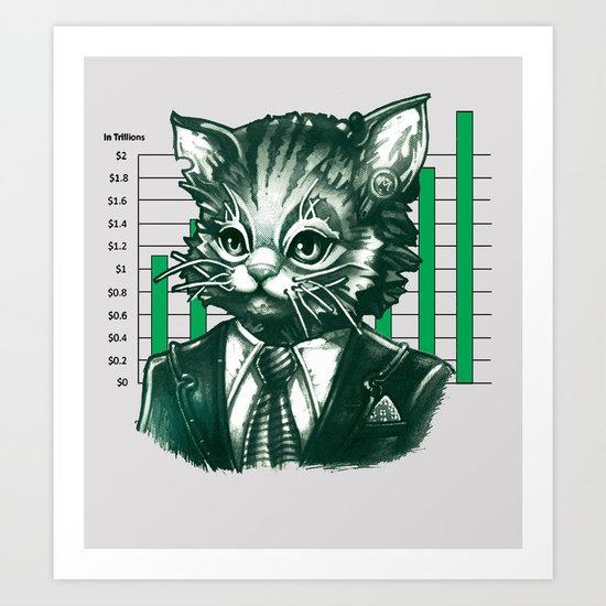 Blue Tooth Cat Deals in Trillions Art Print
