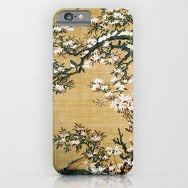 12,000pixel-500dpi - Ito Jakuchu - Malus halliana and white-eye - Digital Remastered Edition iPhone Case