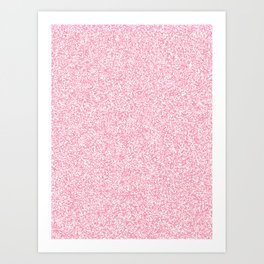 Spacey Melange - White and Flamingo Pink Art Print