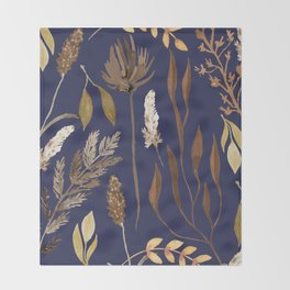 Fall Foliage on Navy Throw Blanket